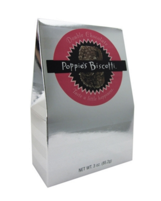 Poppie's Cookies - 3oz Silver Box - Double Chocolate Biscotti