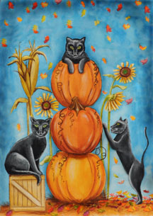 Harvest Cats - Standard Flag by Toland