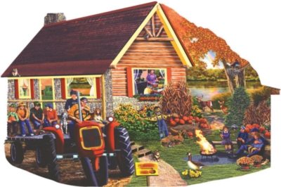 Mountain High Pumpkin Patch - 1000pc Shaped Jigsaw Puzzle By Sunsout