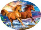 Beach Run - 600pc Round Jigsaw Puzzle By Sunsout