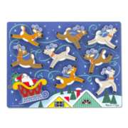Santa & Reindeer - 9pc Chunky Wood Puzzle By Melissa & Doug
