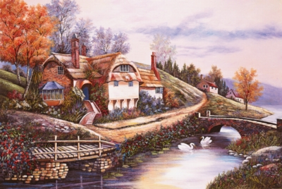 Cottage By The River Puzzle - 1000pc Jigsaw Puzzle by Tomax