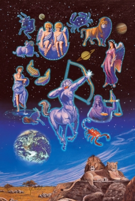 Zodiac - 1000pc Glow-in-the-Dark Jigsaw Puzzle by Tomax