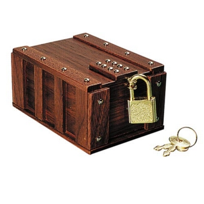 Wood Panel Treasure Chest - Brain Teaser & Puzzle Box