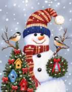 Jigsaw Puzzles - Snowman & Chickadees
