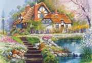Hard Jigsaw Puzzles - Cottage with Swans