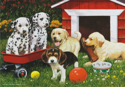 Puppy Playmates - 260pc Jigsaw Puzzle by Perre