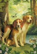 Beagles And Duck - 500pc Jigsaw Puzzle by Perre