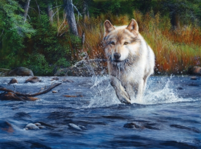 Wolf Crossing - 1000pc Jigsaw Puzzle By Sunsout