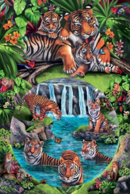 Tiger Play - 625pc Family Style Jigsaw Puzzle By Sunsout