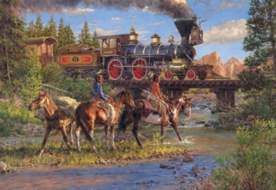 Iron Horse and Indian Ponies - 500pc Jigsaw Puzzle By Sunsout
