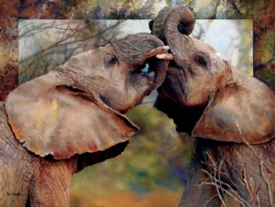 Smoochin' Eles - 500pc Jigsaw Puzzle By Sunsout