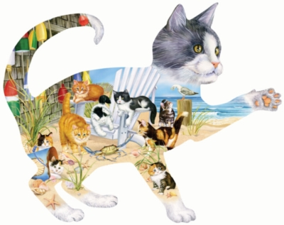 Beach Cats - 900pc Shaped Jigsaw Puzzle By Sunsout