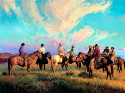 Cowboys Scattering The Hands - 500pc Jigsaw by Pastime Puzzles