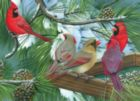 Cardinals at the Feeder - 275pc Large Format Jigsaw Puzzle By Cobble Hill