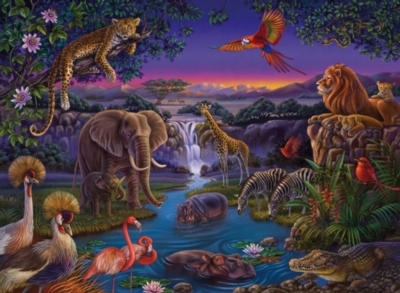 African Animals at Night (With 3D Glasses) - 100pc Chromadepth Jigsaw Puzzle By Ravensburger