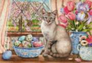 Siamese and the Eggs - 1000pc Jigsaw Puzzle By Holdson