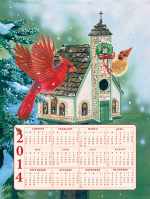 Cardinal Welcome 2014 Calendar - 500pc Jigsaw Puzzle By Sunsout