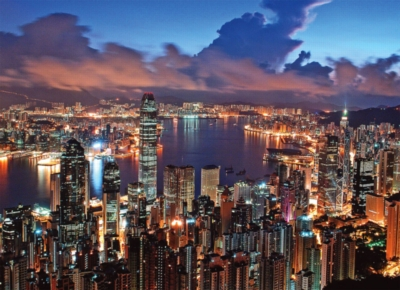Hong Kong Night Scene - 500pc Glow in the Dark Jigsaw Puzzle By Tomax