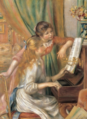 Two Young Girls at the Piano - 500pc Jigsaw Puzzle By Tomax