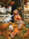 Playing in Fall Leaves - 300pc Large Format Jigsaw Puzzle by Sunsout