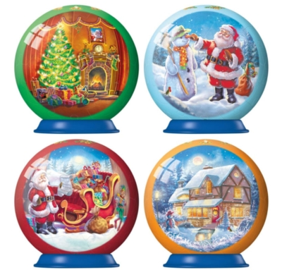 Christmas 3D Puzzleballs - Collection of four 54 pc 3D Jigsaw Puzzle Balls by Ravensburger