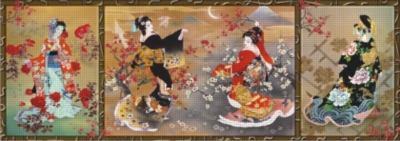 Oriental Triptych - 1000pc Panoramic Jigsaw Puzzle by Perre