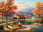 Fall at the Covered Bridge - 1000pc Jigsaw Puzzle By Sunsout