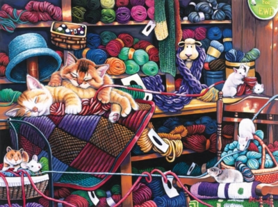 Jigsaw Puzzles - Midnight at the Yarn Shop