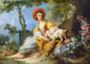Jigsaw Puzzles - A Young Woman Seated with a Dog