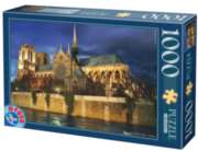 Notre Dame at Night  - 1000 pc Jigsaw Puzzle by D-Toys