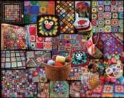 White Mountain Granny Squares Jigsaw Puzzle
