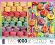 Ceaco Macaroon & Cupcakes 2 in 1 Multi-Pack Jigsaw Puzzle
