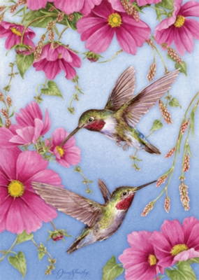 Hummingbirds with Pink - Standard Flag by Toland