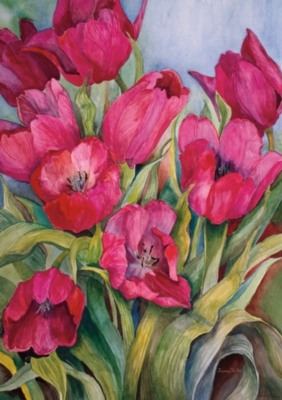 Red Tulips - Garden Flag by Toland