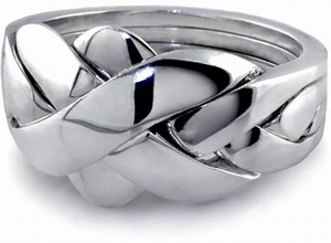 Classic (Unisex) - 4 Band - Sterling Silver Puzzle Ring