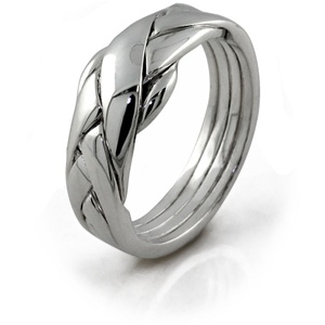 Classic (Ladies) - 4 Band - Sterling Silver Puzzle Ring