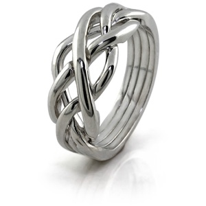 Twist (Ladies) - 4 Band - Sterling Silver Puzzle Ring