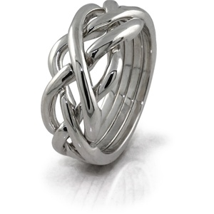 Twist (Mens) - 4 Band - Sterling Silver Puzzle Ring