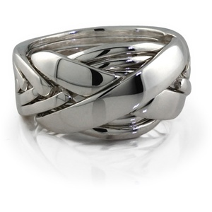 Classic II (Mens) - 7 Band - Sterling Silver Puzzle Ring