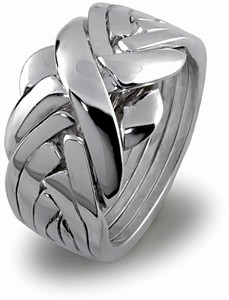 Classic (Unisex) - 7 Band - Sterling Silver Puzzle Ring