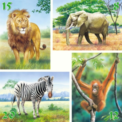 Wild Animals - 8,12,15,20pc Jigsaw Puzzle by Castorland