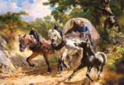 Hard Jigsaw Puzzles - Koller: Covered Wagon in a Narrow Path
