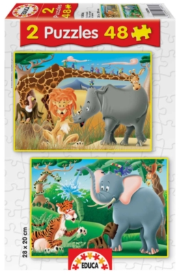 The Jungle - 2 X 48pc Jigsaw Puzzles by Educa
