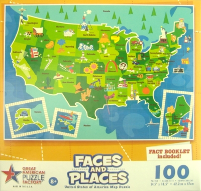 Faces & Places Usa Map - 100pc Jigsaw Puzzle By Great American Puzzle Factory