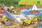 Barney Backhoe - 6pc Wooden Jigsaw Puzzle By Great American Puzzle Factory