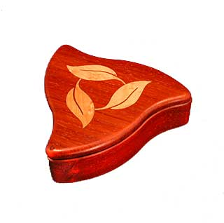 Padauk w/ Turning Leaf Inlay - Puzzle Box