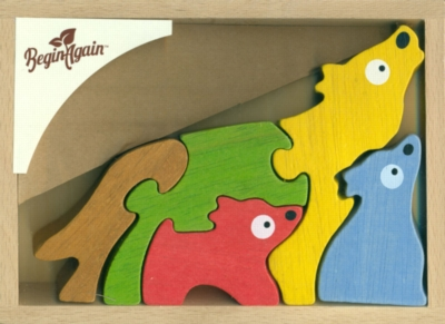 Wolf Family - 5pc Eco-Friendly Wooden Jigsaw Puzzle by BeginAgain Toys
