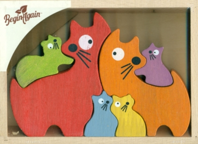 Cat Family - 6pc Eco-Friendly Wooden Jigsaw Puzzle by ImagiPLAY