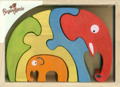 Elephant Family - 5pc Eco-Friendly Wooden Jigsaw Puzzle by BeginAgain Toys